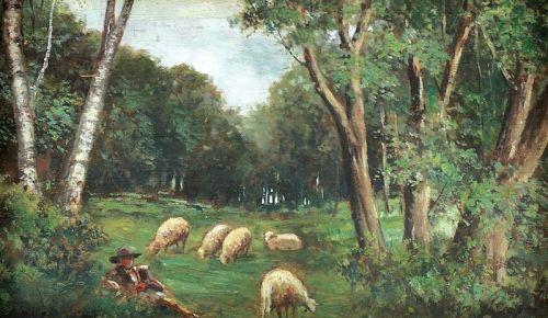 pictura ludovic-bassarab-ciobanas-cu-oi