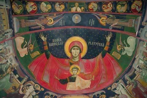 icoana Maica Domnului fresca lui grigore popescu
