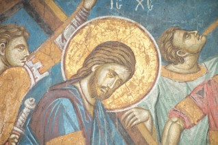 Hristos ducand Crucea - manastirea Decani christ-being-led-to-the-crucifixion-monastery-decani-detail