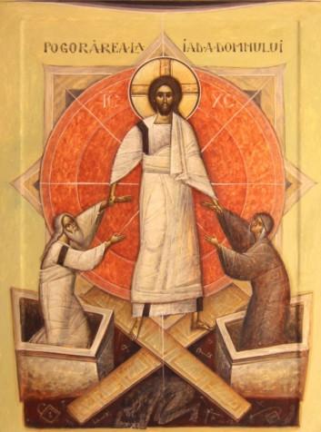 Invierea Domnului Ioan-si-Camelia-Popa-Pogorarea-la-iad-tempera-pe-lemn-2015.Alba-Iulia-759x1024