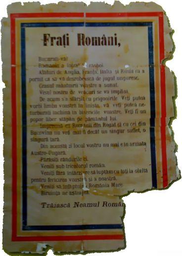 primul razboi mondial manifest Frati_romani